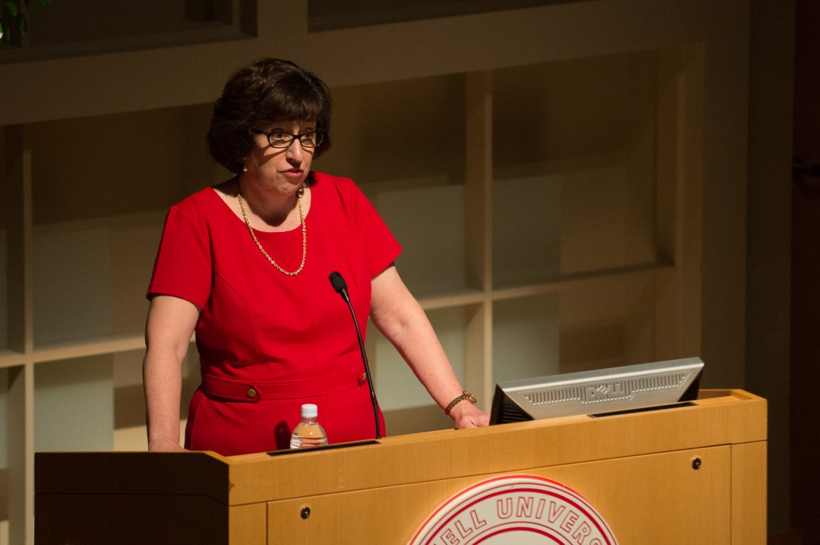 Cornell President Martha Pollack delivers her first State of the University address in Statler Hall, Oct. 20, 2017.