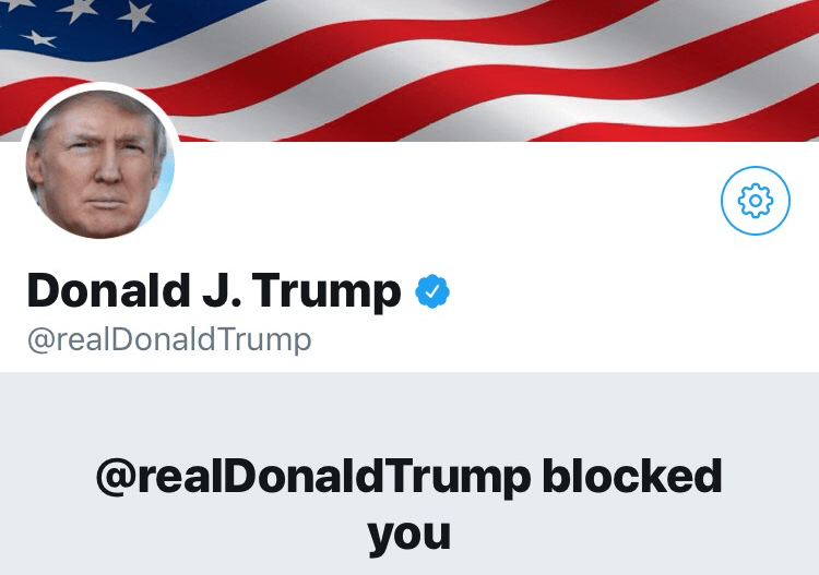 A screenshot of Donald Trump's Twitter account taken by Philip N. Cohen, who was blocked from following the president's account in June and is now part of a lawsuit challenging the block on First Amendment grounds.