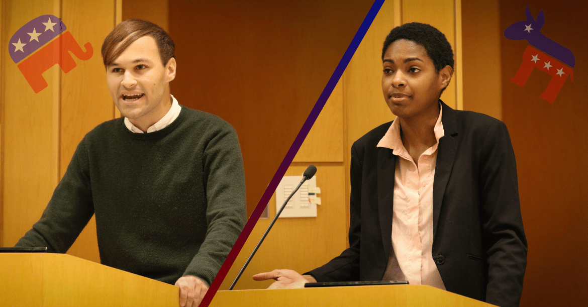 Michael Johns '20 of the Cornell Republicans and Natalie Brown '18 of the Cornell Democrats, were participants in the debate on welfare programs and taxation on Tuesday.