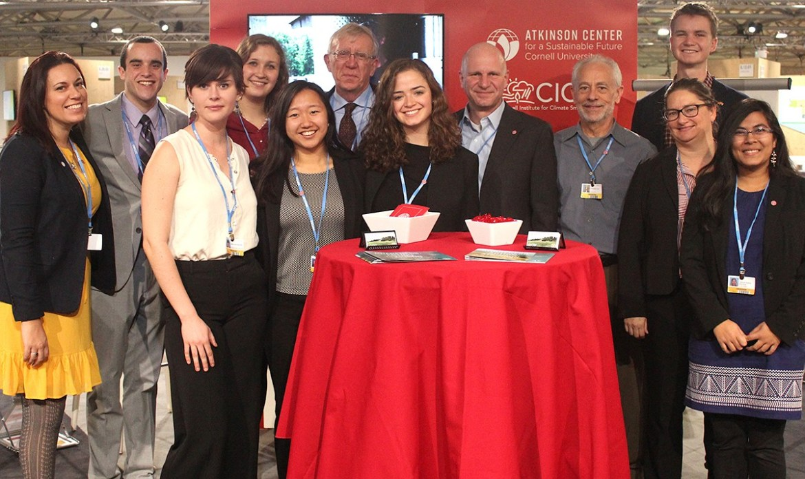 From left, Danielle Eiseman, program manager at Climate Smart Solutions, Marc Alessi '18, Celina Scott-Buechler '19, Jackie Doerr '18, Christina Yin '18, Prof. Mike Hoffmann, entomology, Emma Bankier '19, Prof. Johannes Lehmann, soil science, Prof. Christopher Dunn, horticulture, Daniel Holod '18, Prof. Allison Chatrchyan, sociology and Ming Khan '18 at COP23.