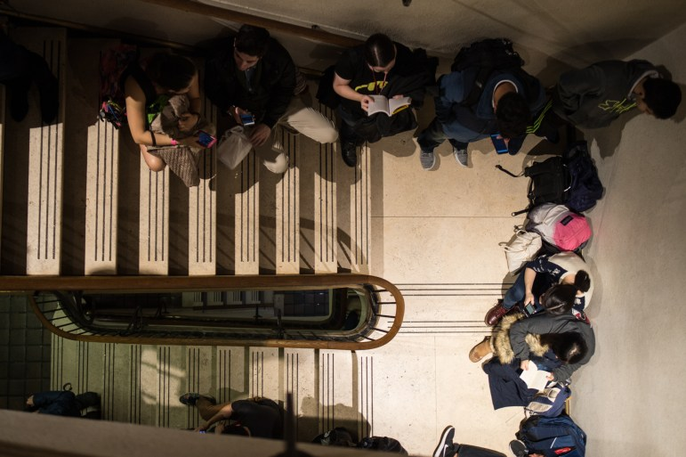 Students pack the stairwells in an attempt to get tickets to an advance screening of Justice League at Cornell Cinema in Willard Straight Hall on Nov. 14, 2017.