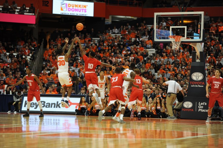 The dreaded 2-3 zone from Syracuse gave Cornell all it could handle in a 77-45 loss for the Red.
