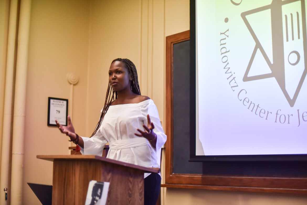 Dydine Umunyana describes her experience as a Rwanda genocide survivor on Thursday.