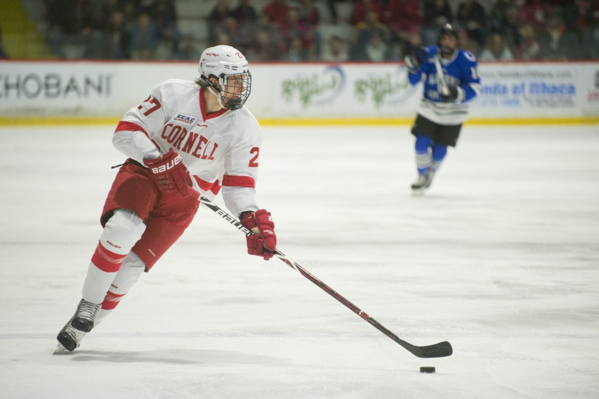 A bounce off the body of Morgan Barron gives Cornell a win over Quinnipiac to open ECAC play.