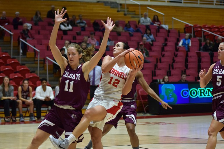 The Big Red women's basketball team erased a late 13-point Colgate advantage to tie the contest at 68-68 with 3:31 to play, but Cornell could not regain the lead and the Raiders escaped Newman Arena with a 74-70 victory.
