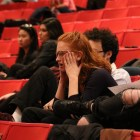 A student reacts to a Student Assembly meeting at which members voted to defund the Cornell Cinema.