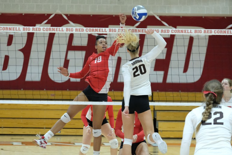 After four incredibly close sets that saw the Cornell volleyball team tied with Brown, 2-2, the Big Red completely dominated the fifth set to earn the hard-fought 3-2 victory in its season finale Friday evening in Newman Arena. (Michael Suguitan / Sun Staff Photographer).