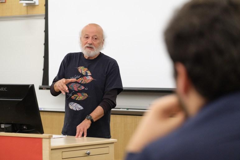 Ben & Jerry's trustee Jeff Furman speaking on social impact at a Sustainable Enterprise Association event at the Brezzeano Center on Thursday, 2 Nov. (Michael Suguitan / Sun Staff Photographer).