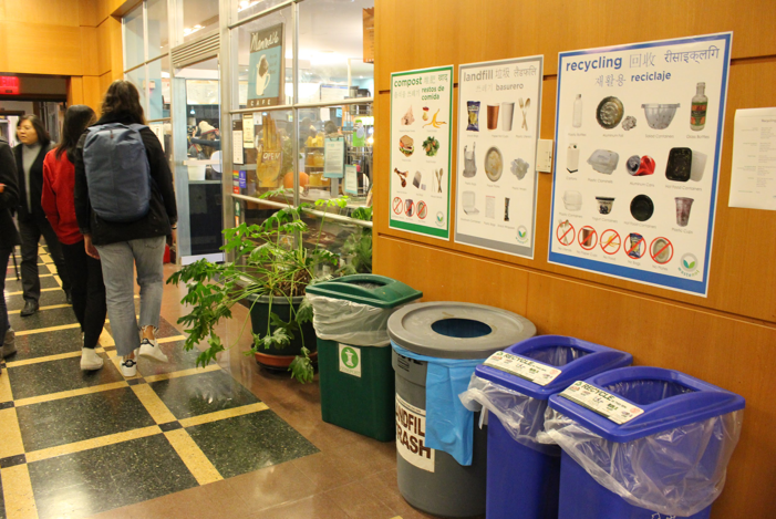 Post-intervention signs (multilingual signs with items directly collected and captured from the cafe; colors match bin color)