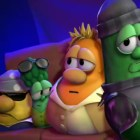 A scene from VeggieTales, the Christian computer-animated series that follows the lives of some adventurous vegetables.