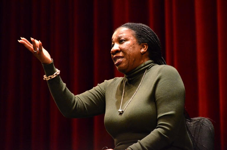 Tarana Burke, founder of the #MeToo Movement, called for a cultural shift at Cornell and pushed for increased measures to support victims of assault. (Emma Hoarty/Sun Staff Photographer)
