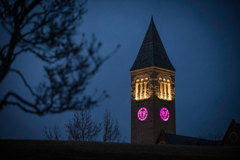 McGraw Tower lit up a heart-shaped frame for Valentine's Day. (Cameron Pollack/Sun Photography Editor)
