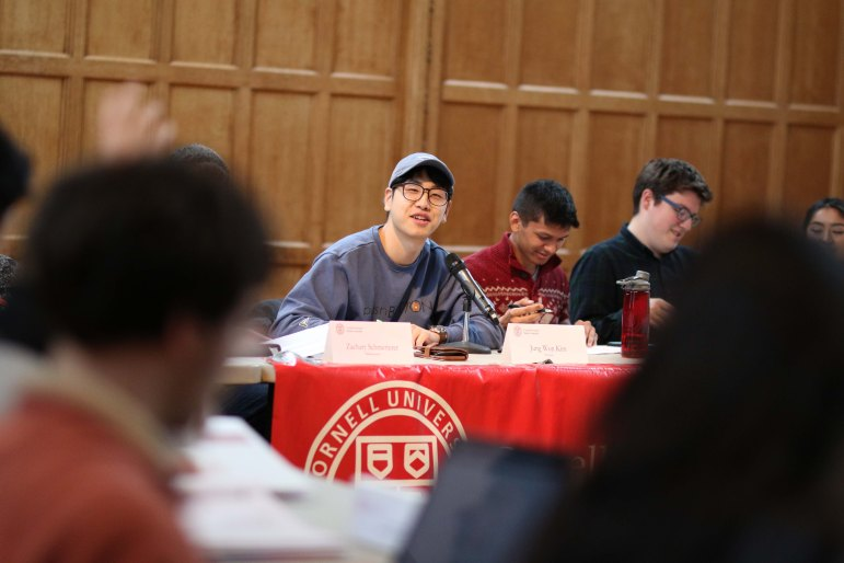 Student Assembly President Jung Won Kim at the S.A. meeting on Thursday. (Michael Wenye Li/Sun Assistant Photography Editor)