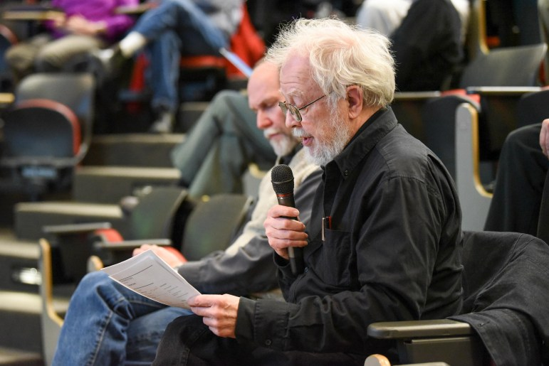 Prof. Richard Bensel, government, read from portions of a Sun article at the Faculty Senate meeting on Feb. 14, 2018.