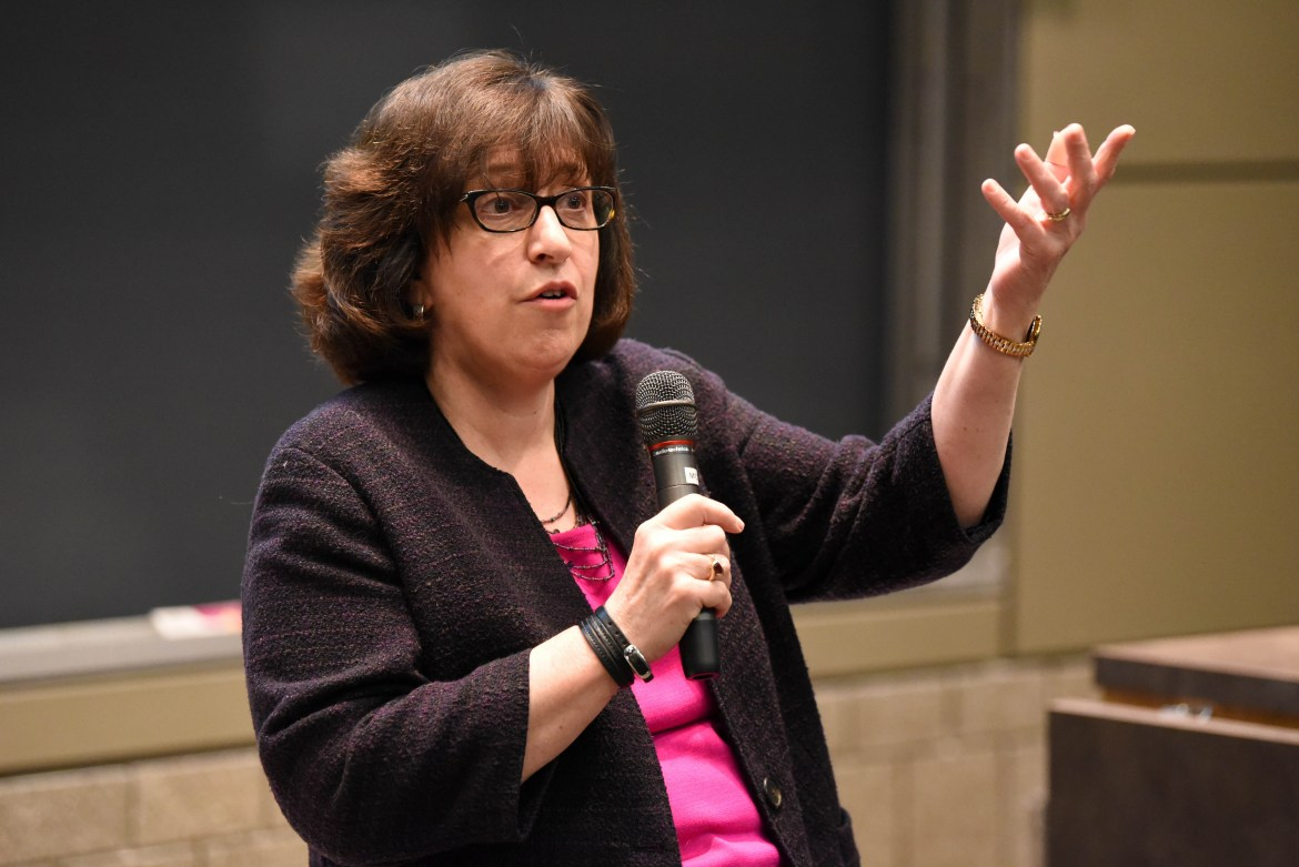 Cornell President Martha Pollack said the College of Business finances are in good shape, but refused to give any reasons for Prof. Soumitra Dutta's resignation when she she spoke at a Faculty Senate meeting on Wednesday, Feb. 14, 2018.