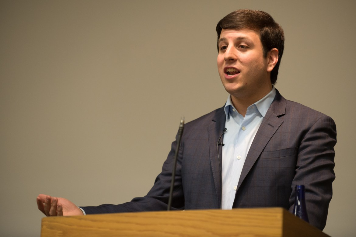 Jordan Fabian '09, White House Correspondent for The Hill, lectures on President Donald Trump's first year in office at Goldwin Smith Hall, Feb. 8, 2018.
