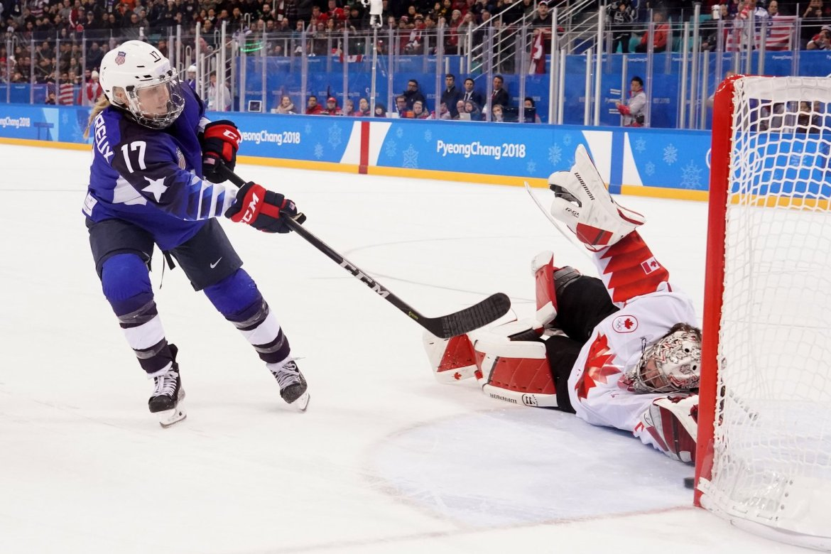 Jocelyne Lamoureux-Davidson scored the game-winning goal in the sixth round of the shootout.