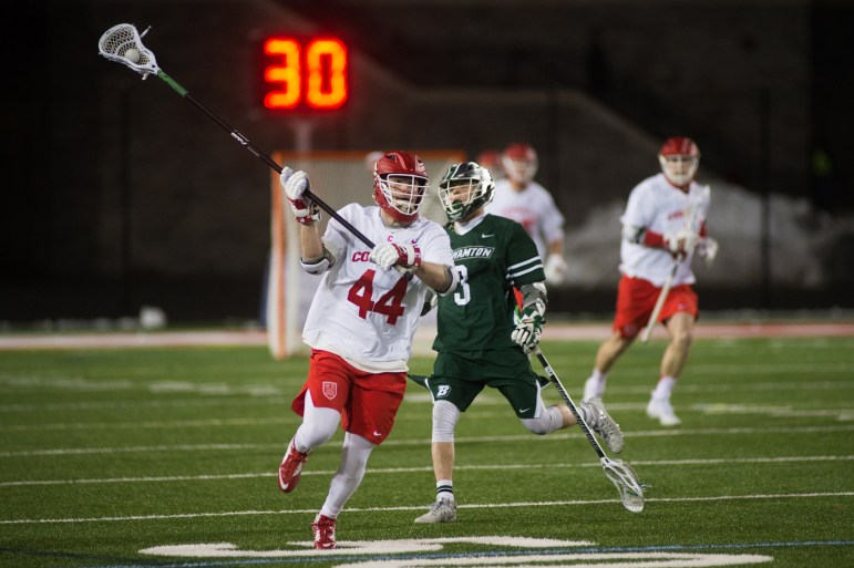 A strong performance on Monday night earned the men's lacrosse team a dominating 18-2 victory over Binghamton.
