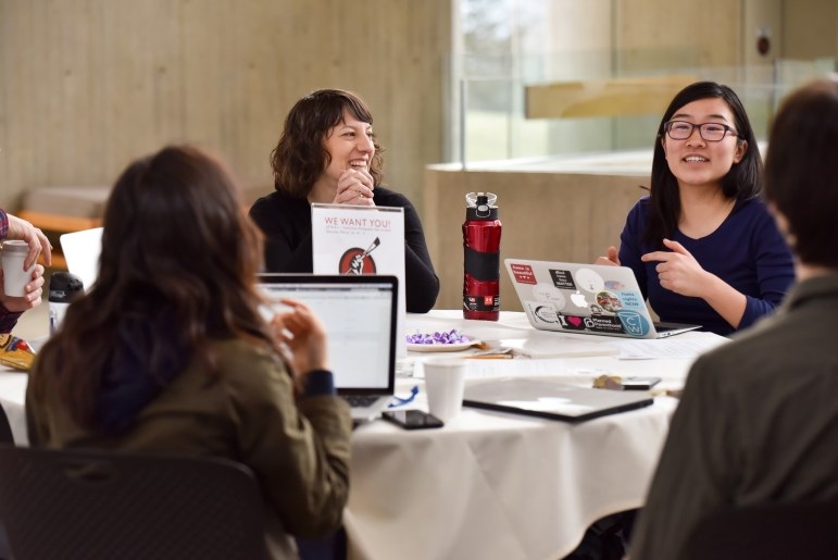 Students participated in the 2018 Art + Feminism Wikipedia edit-a-thon on Saturday.