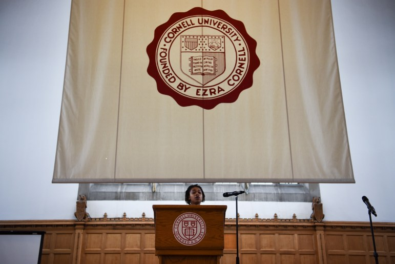 Delmar Fears spoke at the International Women's Day Conference at Willard Straight Hall on Saturday. (Boris Tsang/Sun Assistant Photography Editor)