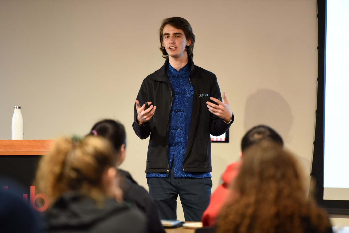 Micah Green '18 detailed how he built his company, Maidbot, at a talk on Monday at eHub.