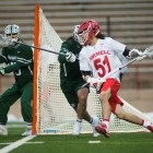 Sophomore Jeff Teat was the Red's leading scorer with six points on Saturday.