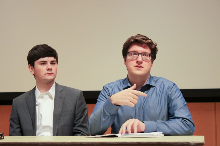S.A. presidential candidate Dale Barbaria '19 (right) and Joseph Anderson '20, who's running for executive vice president.