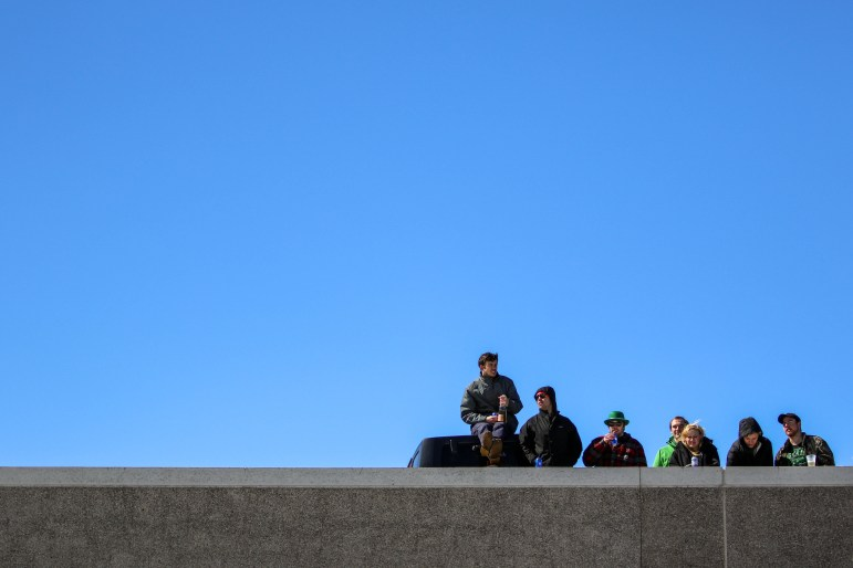 Fans at Schoellkopf Field during the men's lacrosse game.
