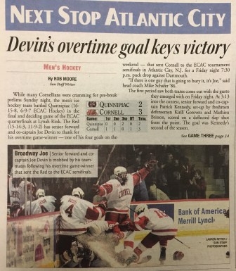 """Last time the Red hosted Quinnipiac in an ECAC quarterfinals series, Cornell won in three games. """"Next Stop Atlantic City,"""" read the sports page in the Sun on March 14, 2011."""