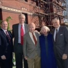 Imogene Johnson '52 is pictured here at the Sage Hall Cornerstone Ceremony with her husband, center, and three Cornell administrators. Johnson died aged 87 on Saturday.