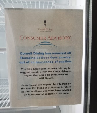 Consumer Advisory signs like the one above, posted in the Bear Necessities convenience store, were put up across campus.
