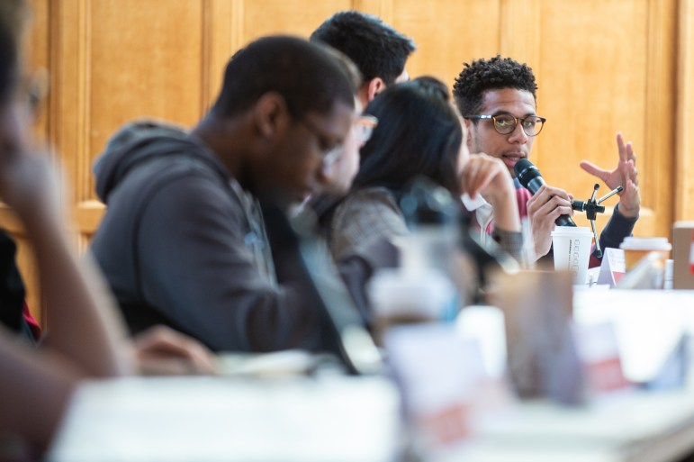 Travis Cabbell '18 speaks at the Student Assembly meeting on Thursday, during which the Convocation Committee named Ava DuVernay as the 2018 Convocation Speaker and the S.A. discussed proposed amendments to the Student Assembly charter.