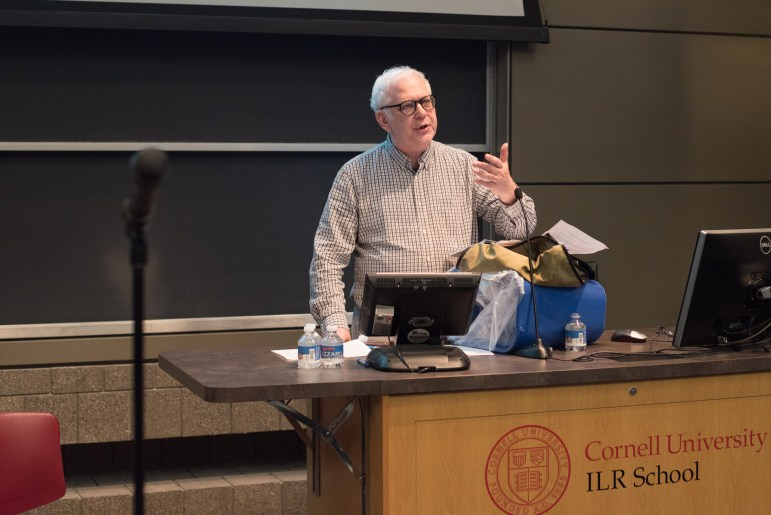 Prof. Richard Miller, philosophy, presents his amendment to CRP-B at a Faculty Senate meeting on April 25.