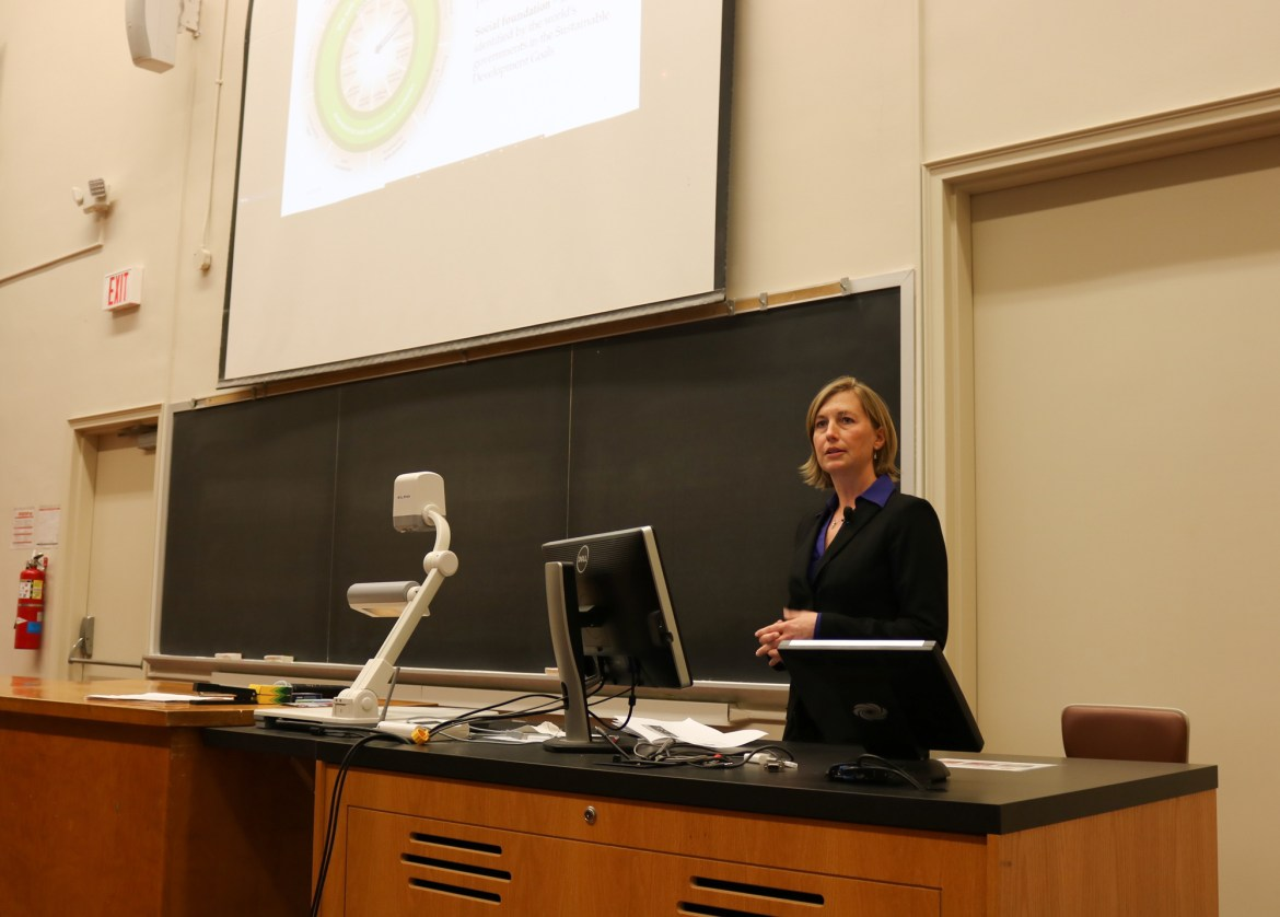 Sarah Zemanick, director of Campus Sustainability Office, speaks Monday as part of the Perspectives on the Climate Change series.