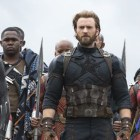 Black Panther (Chadwick Boseman), Captain America (Chris Evans) and Black Widow (Scarlet Johannson) prepare for battle in Avengers: Infinity War.