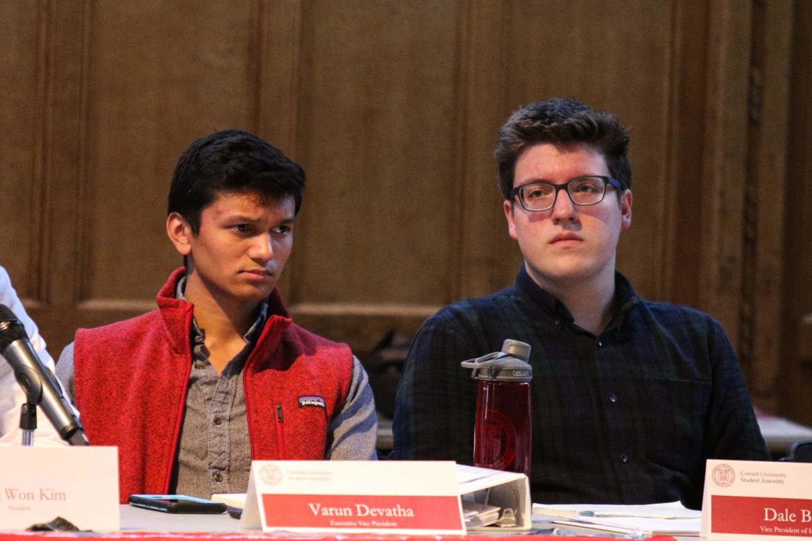 A special Student Assembly meeting has been called to discuss the controversy surrounding the presidential race between Dale Barbaria '19, right, and Varun Devatha '19, who was disqualified because of his campaign member's use of a meme with a Cornell logo.