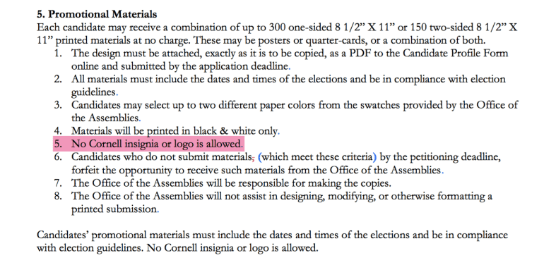 The elections committee initially ruled that Devatha had violated the highlighted portion of the rule, above, but later cited the entire Promotional Materials section as the basis for his removal.