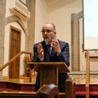 "Ghaith al-Omari spoke in a lecture titled ""Can Progress Be Made Towards Palestinian-Israeli Peace?"" at St. Luke Lutheran Church on April 25th."
