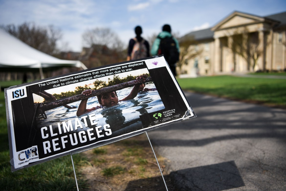 Refugee sign on the Arts Quad on May 4th, 2018.