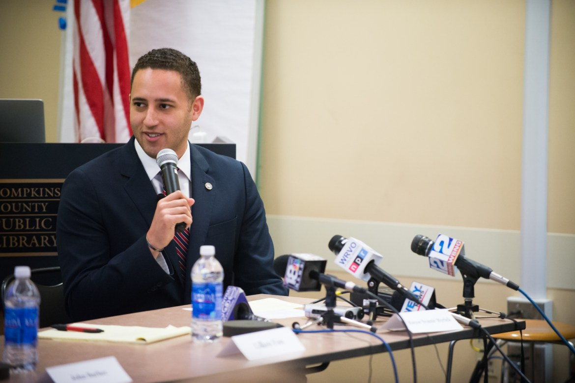 Mayor Svante Myrick '09 presents the Ithaca Plan to combat drug overdose at a press conference in 2016.
