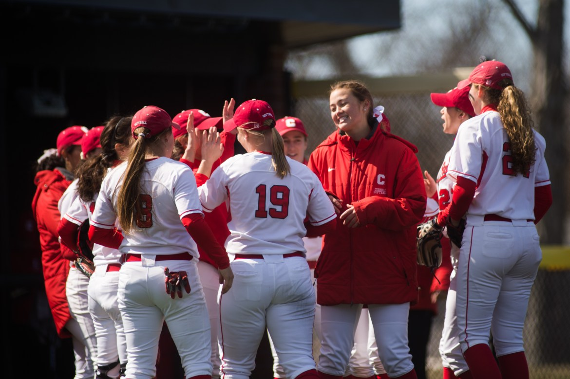 Letting up only six hits and no walks, sophomore pitcher Katie Lew tossed a complete game shut out to deliver the Red's second win of the weekend.