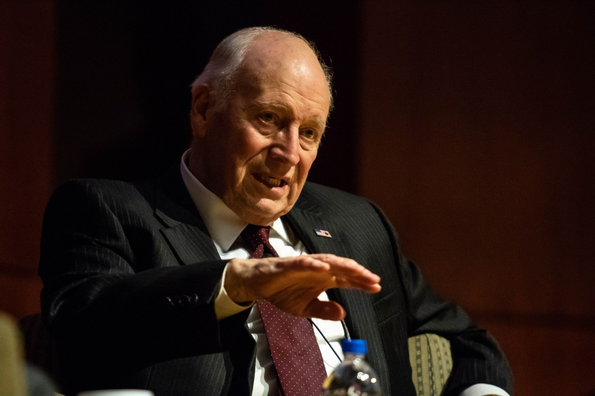 "Dick Cheney defended the U.S. government's decision to deploy troops in Iraq in a talk at Call Auditorium on Tuesday. ""We did change the regime in Iraq,"" he said."