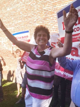 Mitrano at her unity rally in Corning on July 10, after it was announced that she won the election.