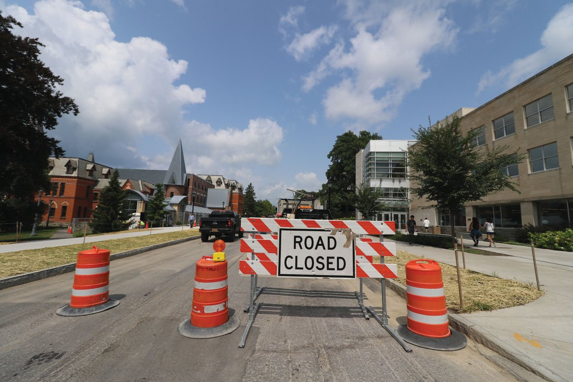 East Avenue road construction has included the addition of a new traffic control system, bus shelter upgrades, crosswalk improvements and installation of additional safety features.