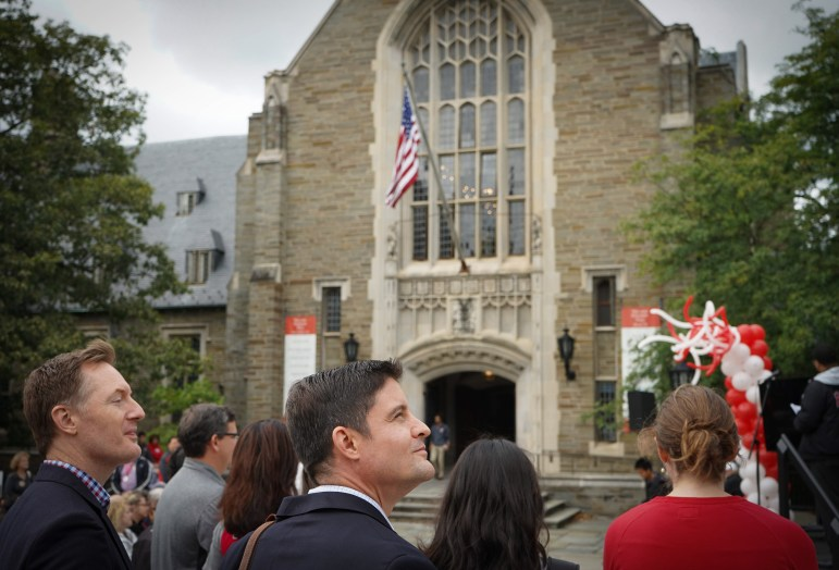 Students and alumni gathered at Ho Plaza on Saturday morning for the Cornell Chimes Sesquicentennial Celebration. Audience members learned about the history of the Chimes and listened to some of its most memorable songs. (Jing Jiang / Sun Staff Photographer)