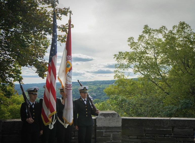 A memorial service was held at the Baldwin Memorial Stairway on Saturday afternoon to honor the students who died in World War I. (Jing Jiang / Sun Staff Photographer)