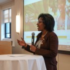 "Lynn Perry Wooten, dean of the Dyson School, spoke at the Dyson Diversity Week ""My Story, Our Story"" reception on Tuesday."