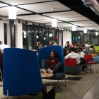 Students work and chat in EHub, a popular workspace for both students and startups at 409 College Ave., Oct. 17, 2017.