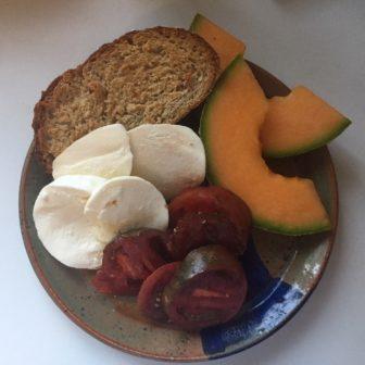 Tomato and Mozzarella Toast with Melon