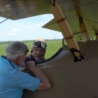 """Ithacans help restore """"Tommy,"""" the WW1 biplane, prior to its Sept. 29 flight back to Ithaca."""